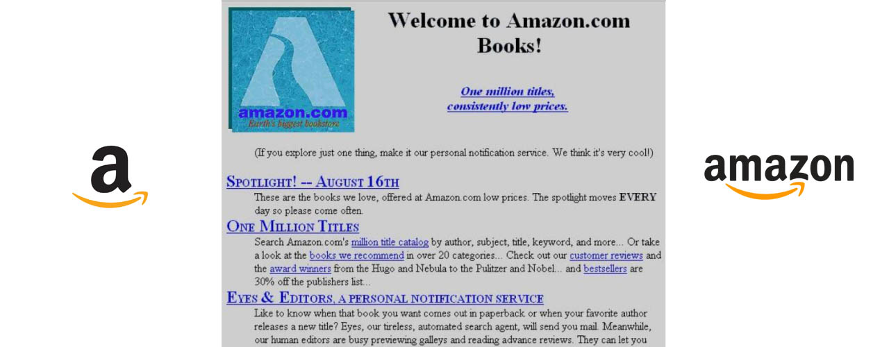 Amazon's First Webpage 21 Years Ago