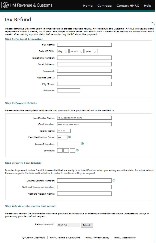 HMRC Phishing Email Leads To This Website