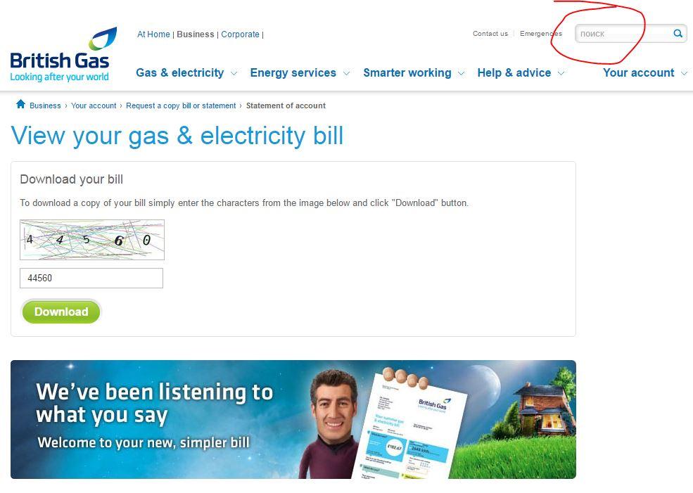 Screenshot Of Fake British Gas Website